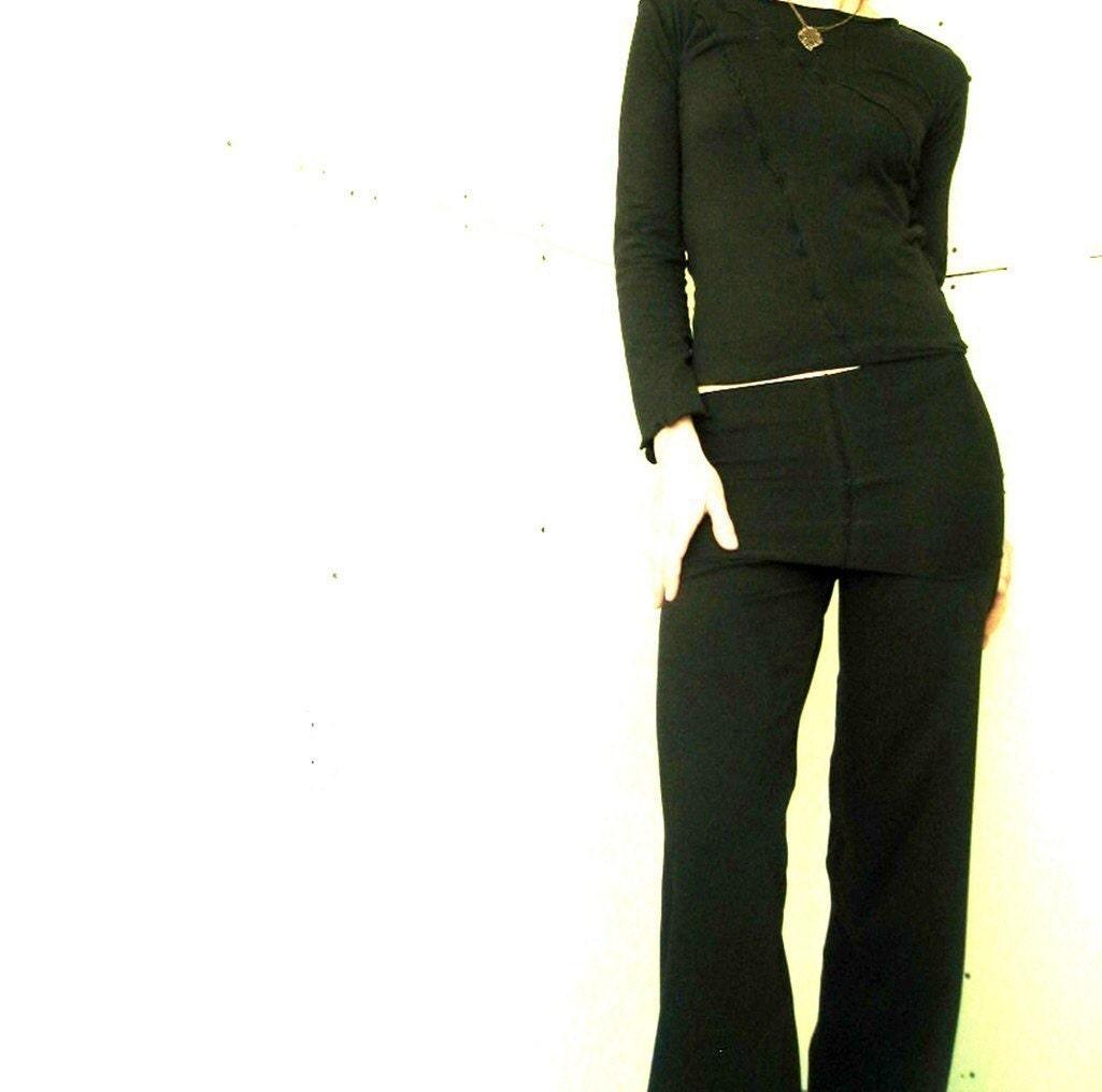 Popular Mosse Black Micromodal Folded Pants For Women  Gostylee
