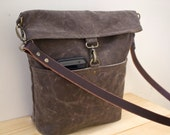 WAXED CANVAS  Day Bag, Cross Body Bag, Messenger Bag with Leather Strap - Dark Oak