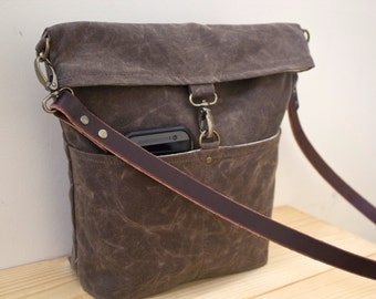 WAXED CANVAS  Day Bag, Cross Body Bag, Messenger Bag with Leather Strap - Dark Oak - Available in 7 colors