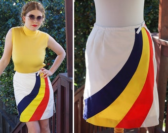 Primary RAINBOW 1960's 70's Vintage White Tennis Skirt with Blue Yellow + Red Stripes // by David Smith for Abercrombie Fitch // size Small