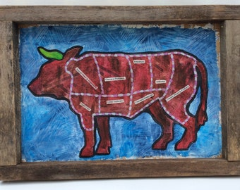 Cattle Painting on Canvas and reclaimed Barn Wood