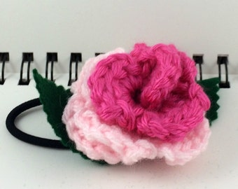 Crocheted Rose Ponytail Holder or Bracelet - Light Pink and Hot Pink (SWG-HP-MPPP02)