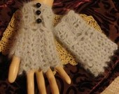 Gray Angora Fingerless Gloves Wrist Cuffs Steampunk Victorian Goth Winter