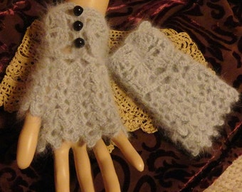 Gray Angora Fingerless Gloves Wrist Cuffs Steampunk Victorian Goth Winter