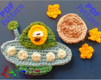 Spaceship crochet Applique Pattern