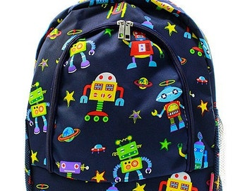 Robot Backpack - Boys Backpack - Boys Monogrammed Backpack - Personalized Robot Backpack with Name or Initials of Your Choice