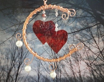 """Stained Glass Heart Wind Chime, Mobile, Copper Art, Home Decor, Window Hanging, Wedding, Garden Decor, """"I Love You to the Moon and Back"""""""