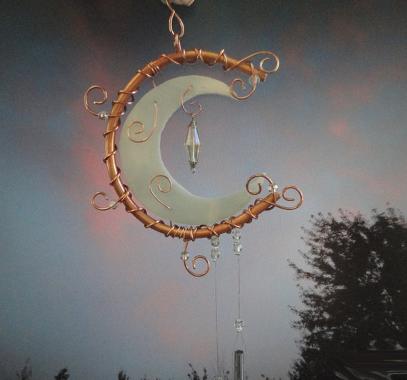 Glass and Metal Wind Chime, Sculpture, Stained Glass Moon, Wind Chimes, Mobile, Wall Hanging, Crescent Moon, Sun Catcher, Garden, Moon Shine