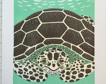Sea Turtle 2015 original block print