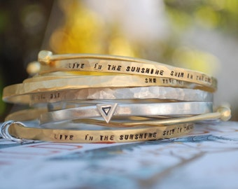 WILD AIR bangle Quote Bracelet Ralph Waldo Emerson Live in the Sunshine Swim in the Sea Eco Friendly Bangle Chocolate and Steel