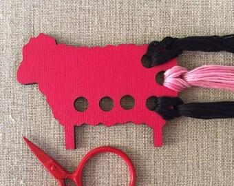 red Sheep embroidery floss organizer painted wood ewe thread keep