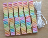 Rock n Roll Rainbow Clips w Twine for Photo Display - Chunky Little Clothespin Set of 12