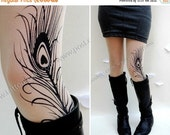 Sale/15%Off/EndsSep30/ sexy MINI and BOOTS peacock FEATHER tattoo thigh-high stockings ultra pale