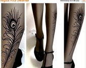 Sale/15%Off/EndsSep30/ sexy Peacock FEATHER TATTOO gorgeous thigh-high socks GREY