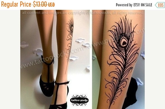 Sale/15%Off/EndsSep30/ sexy PEACOCK FEATHER TATTOO gorgeous knee-high socks light mocha