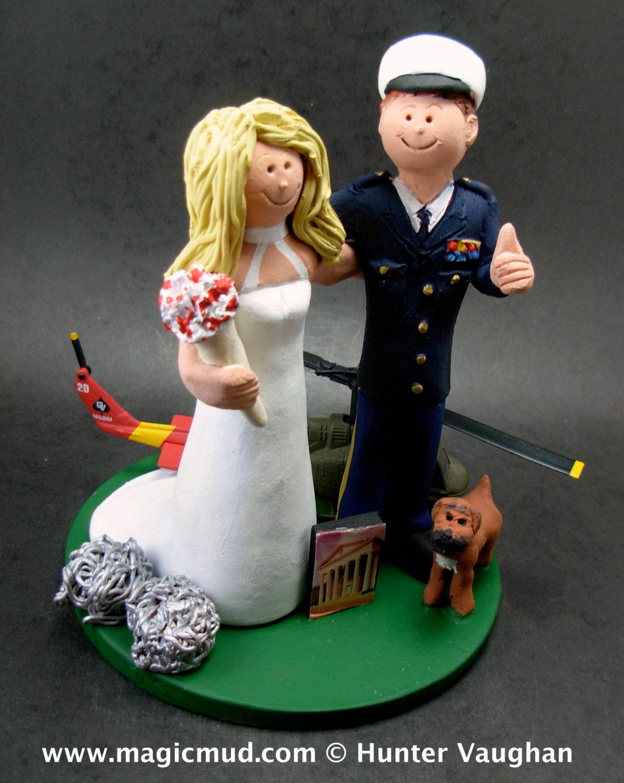 Air Force Jet Pilot Groom In Uniform Wedding Cake Topper Jet