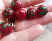 Six Cherry, Glass, Beads. Lovely. Vintage.