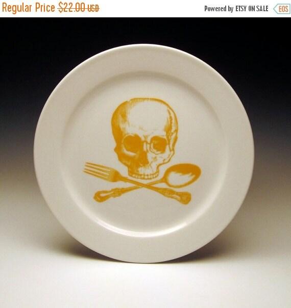 ON SALE skull and cross-utensils 9 inch dinner plate in Goldenrod Yellow SALE Item