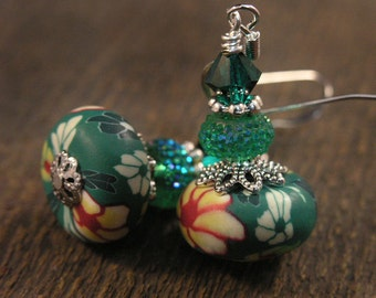 Green, yellow, white polymer clay beads with flowers, emerald swarovski crystal and silver handmade earrings