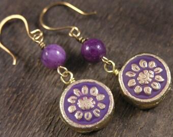 Purple flowers enamel on gold metal beads, quartzite stone, handmade brass earrings