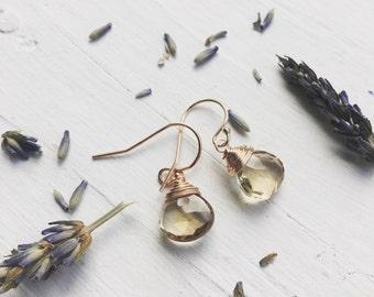 Champagne Citrine Earrings November Birthstone Jewelry Rose Gold Earings Rose Gold Dangle Earring Tear Drop Earing Teardrop Jewelry Gifts