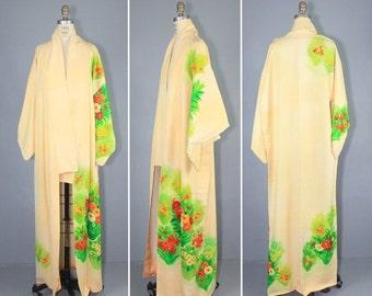 kimono sale / vintage kimono / silk robe / dressing gown / ALSTROEMERIA wedding kimono