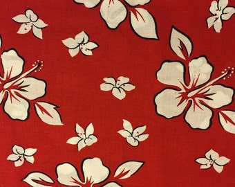 HIBISCUS FLOWER Fabric - Tropical Hawaiian White Flowers Red Background Last Cut Over 1 Yard