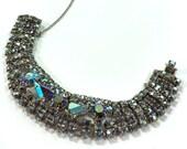 Aurora Borealis Bracelet / Vintage 1950s Unsigned Wide Rhinestone Bracelet
