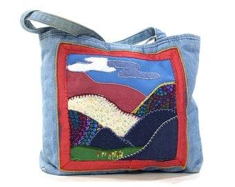 70s Patchwork Denim Tote Bag / Vintage 1970s Landscape Applique Shoulder Bag / Handmade Hippie Boho Bohemian Quilted Purse / Medium Shopper