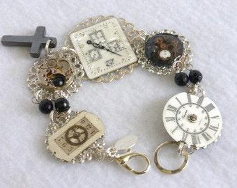 Steampunk Vintage Watch Face Bracelet   SB27