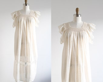 Vintage Cream Crochet Gauze Dress
