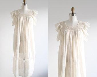 Vintage Cream Crochet Gauze Dress