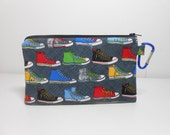 High Top Shoes Coin Purse, Extra Large Carabiner Clip Change Purse, Padded Zipper Pouch