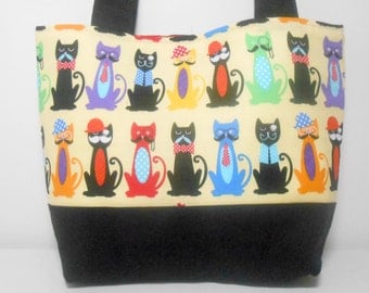 Cat Tote Bag, Cool Cat Medium Purse with Pockets, Colorful Purse with Cats