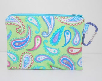 Lime Change Purse, Green Paisley Large Carabiner Coin Purse, Lime Green Coin Purse