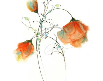 Faithful Expression - Watercolor Art Print Red Roses Flowers Bouquet Romantic Valentines Day Available in Paper and Canvas by Olga Cuttell