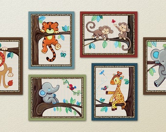 Set of Six Jungle Safari Treetop Friends Nursery Art Prints. Made to Match Treetop Buddies.
