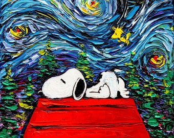 Snoopy Art - Peanuts Cartoon Starry Night print van Gogh Never Hit Snooze by Aja 5x5, 8x8, 10x10, 12x12, 20x20, and 24x24 inches choose size
