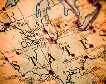 Antique map of Chicago and the Midwest Photographic Print
