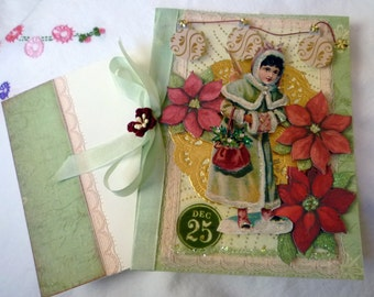 Christmas Greeting Card Victorian Snow Angel Blank Card OOAK