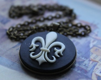 Fleur de Lis Cameo Necklace, Black and Ivory and Brass, Vintage Style, French,