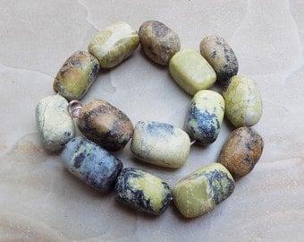 Yellow Turquoise (Jasper) barrel beads