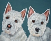 """One 12"""" x 12"""" Two Pet Portrait Painting"""