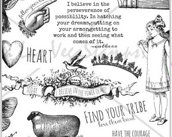 unmounted rubber stamp plate fairy wings quote sheep fairy  heart hand face elk    friends   tateam EUC team   no.1483