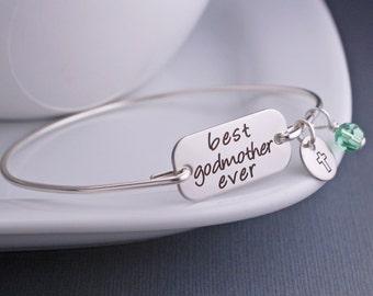 Godmother Jewelry, Custom Best Godmother Ever Bracelet, Christmas Gift For Godmother, Baptism, Confirmation, Communion