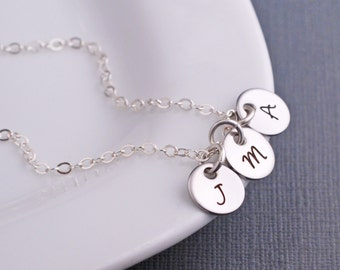 Personalized Mother's Necklace, Mother's Day Gift, Silver Initial Necklace, Gift For Mom