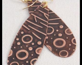 MIKELA - Handforged Embossed Antiqued Long Copper Modern Earrings