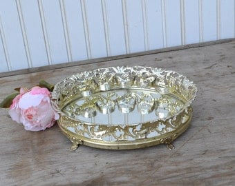 Small Vanity Mirror with lipstick Holder - Gold - Filigree - Royal Hill Vintage