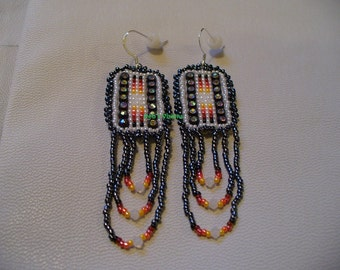 Native American Style Square Stitched earrings in Pearly White and Hematite