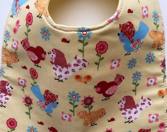 Baby Birds Patchwork and Flowers on Yellow Baby Bib